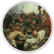 The Zaporozhye Cossacks Writing A Letter To The Turkish Sultan Round Beach Towel