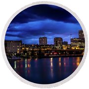 Thea Foss Waterway Storm Brewing Round Beach Towel