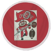 Thee Ohio State Buckeyes Round Beach Towel