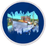 Thee Old Dragger Boat Round Beach Towel by Thom Zehrfeld