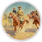 Theodore Roosevelt And The Rough Riders Round Beach Towel