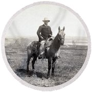 Theodore Roosevelt Horseback - C 1903 Round Beach Towel by International  Images