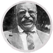 Theodore Roosevelt Laughing Round Beach Towel by International  Images