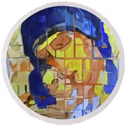 Round Beach Towel featuring the painting Theotokos by Sandy McIntire
