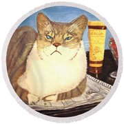 Therapy Cat Round Beach Towel