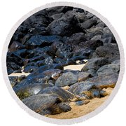 Round Beach Towel featuring the photograph There Has Got To Be More Room On This Beach  by Jim Thompson