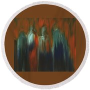 Round Beach Towel featuring the painting There Were Four by Jim Vance