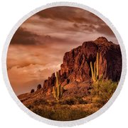 Round Beach Towel featuring the photograph There's Gold In Them Hills  by Saija Lehtonen