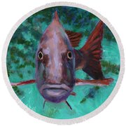 There's Something Fishy Going On Here Round Beach Towel by Billie Colson