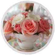 Teacup Roses Round Beach Towel