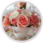 Teacup Roses Round Beach Towel