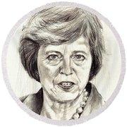 Theresa May Portrait Round Beach Towel
