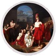 Theseus Victor Of The Minotaur Round Beach Towel