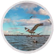 They Are Coming.... Round Beach Towel