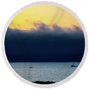 Thick Fog Blankets Sunset Round Beach Towel by Joseph Hollingsworth