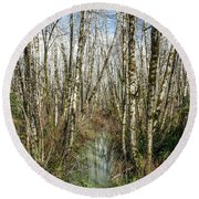 Thickets And Marsh Round Beach Towel by Greg Nyquist