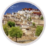Round Beach Towel featuring the photograph Thikse Monastery by Alexey Stiop