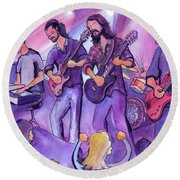 Round Beach Towel featuring the painting Thin Air At The Barkley Ballroom In Frisco, Colorado by David Sockrider