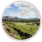 Thingvellir National Park In Iceland Round Beach Towel