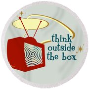 Think Outside The Box Round Beach Towel