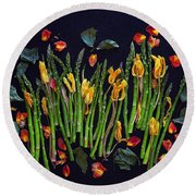 Think Spring Asparagus Round Beach Towel