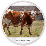 Think Vegetarian Round Beach Towel