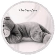 Thinking Of You Round Beach Towel by Gina Dsgn