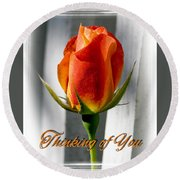 Thinking Of You, Rose Round Beach Towel
