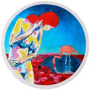 Round Beach Towel featuring the painting Thinking Woman by Ana Maria Edulescu