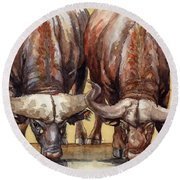 Round Beach Towel featuring the painting Thirsty Buffalo  by Margaret Stockdale