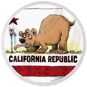 Thirsty California Flag Round Beach Towel