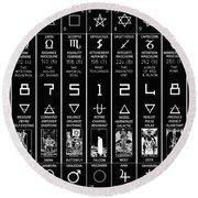 Round Beach Towel featuring the digital art Thirteen Moonstar Chart by Derek Gedney