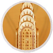 Chrysler Building At Sunset Round Beach Towel by Panoramic Images