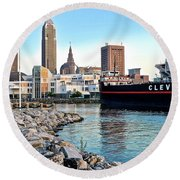 This Is Cleveland Round Beach Towel by Frozen in Time Fine Art Photography