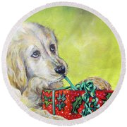 Round Beach Towel featuring the painting This Is Mine? Right? by Donna Tucker