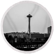 This Is Seattle Black And White Round Beach Towel