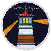 This Little Light Of Mine Round Beach Towel by Glenna McRae