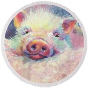 This Little Piggy Round Beach Towel