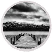 Dramatic Black And White Scene In The Argentine Patagonia Round Beach Towel