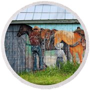 Round Beach Towel featuring the photograph This Old Barn by Ella Kaye Dickey