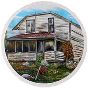 Round Beach Towel featuring the painting This Old House 2 by Marilyn  McNish