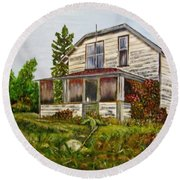 Round Beach Towel featuring the painting This Old House by Marilyn  McNish