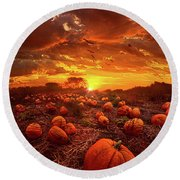 This Our Town Of Halloween Round Beach Towel by Phil Koch