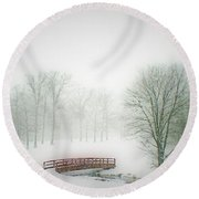 This Small Bridge, Located On A Golf Course, Always Provides A Scenic View. When A December Blizzard Round Beach Towel