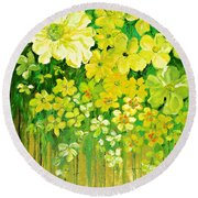 This Summer Fields Of Flowers Round Beach Towel