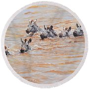 Round Beach Towel featuring the painting This Way Mum by Alan M Hunt