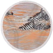 Round Beach Towel featuring the painting This Way Son by Alan M Hunt