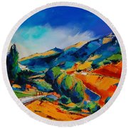 Round Beach Towel featuring the painting This Way To Heaven by Elise Palmigiani