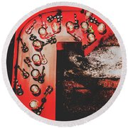 This Way To Rock City Round Beach Towel