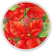 This Year's Poinsettia 1 Round Beach Towel by Inese Poga